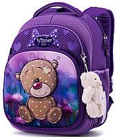 Ортопедический школьный рюкзак (ранец) фиолетовый для девочки Winner One с Мишкой 36х29х16 см для начальной