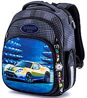 Ортопедический рюкзак (ранец) школьный серый для мальчика Winner One с Машиной 36x29x16 см в 1 класс (7008)