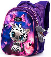 Ортопедический школьный рюкзак Winner One для девочки Кот 38х29х19 см Фиолетовый для 1 классу (R1-002)