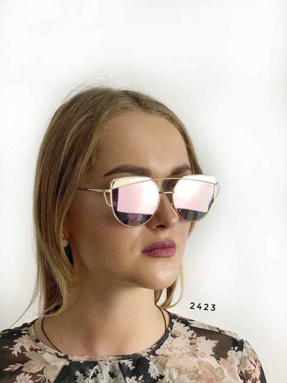 Стильные солнцезащитные очки Dior Monster(цвет розовый в золотистой оправе,зеркальные)