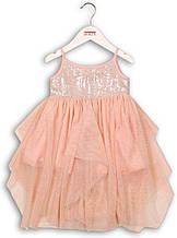 Нарядное розовое платье с фатином и блестками для девочки, рост 80/86 см