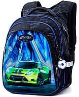 Ортопедический рюкзак Winner One для мальчика Машина 38х29х16 см Черный для первоклассника (R2-167)