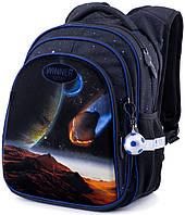 Школьный рюкзак с ортопедической спинкой Winner One для мальчика Космос 38х29х16 см Черный для младших классов