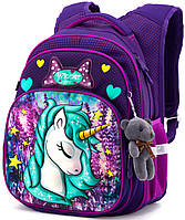 Школьный рюкзак с ортопедической спинкой Winner One для девочки Единорог 38х29х19 см Фиолетовый для начальной школы (R3-222)