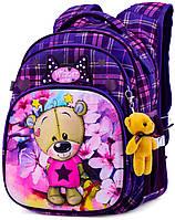 Ортопедический школьный рюкзак Winner One для девочки Мишка 38х29х19 см Фиолетовый для младших классов