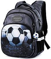 Ортопедический рюкзак Winner One для мальчика Футбол 38х29х19 см Серый для 1 класса (R3-224)