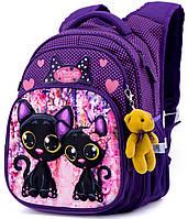 Ортопедический рюкзак Winner One для девочки Коты 38х29х19 см Фиолетовый для начальной школы (R3-227)