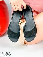 Женские балетки с открытым носком черные натуральный замш, кожа 36,39 размер