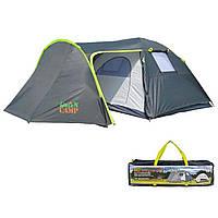 Палатка четырехместная двухслойная с тамбуром и тентом Green Camp 1009