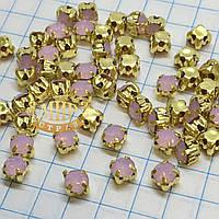 Круглые стразы чатоны в золотых цапах, размер 4мм, цвет Pink Opal, 1шт