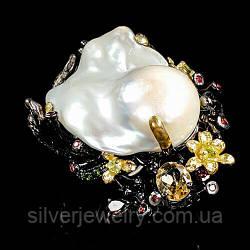 Серебряное кольцо с ЖЕМЧУГОМ БАРОККО (натуральный), серебро 925 пр. Размер 18