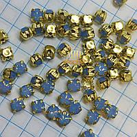 Круглые стразы чатоны в золотых цапах, размер 4мм, цвет Blue Opal, 1шт