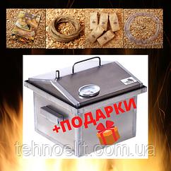 Домашняя коптильня для горячего копчения домик с термометром 300х300х250