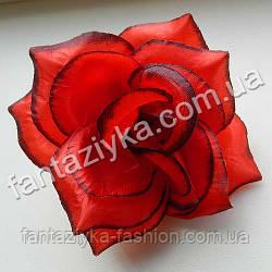 Головка розы атласная 10см, красная с кантом