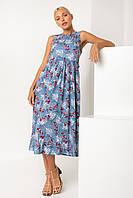 Легкое летнее голубое женское платье с цветочным принтом