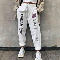 Стильные белые спортивные штаны с надписями двунитка