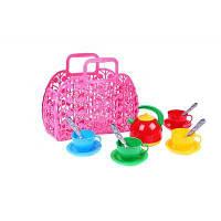 Корзинка с набором посуды ТехноК (розовая)