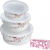 Набор салатников с крышкой 3 шт Японская вишня SNT 30053-1066