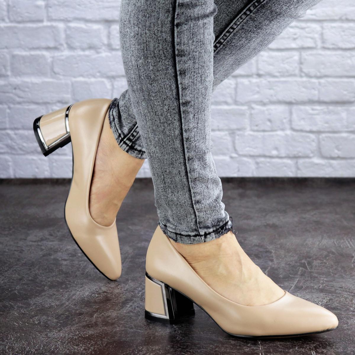 Женские туфли на каблуке Fashion Vinnie 2025 36 размер 23 см Бежевый