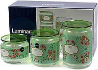 Набор банок для сыпучих продуктов 3 шт Mint Green Luminarc P9215