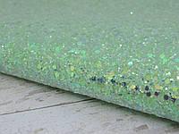 Экокожа, крупные и мелкие блестки. Цвет Зеленый лайм. Размер 19*30, фото 1