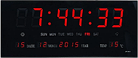 Комнатные электронные светодиодные настенные часы LED NUMBER CLOCK 3615 RED, фото 1