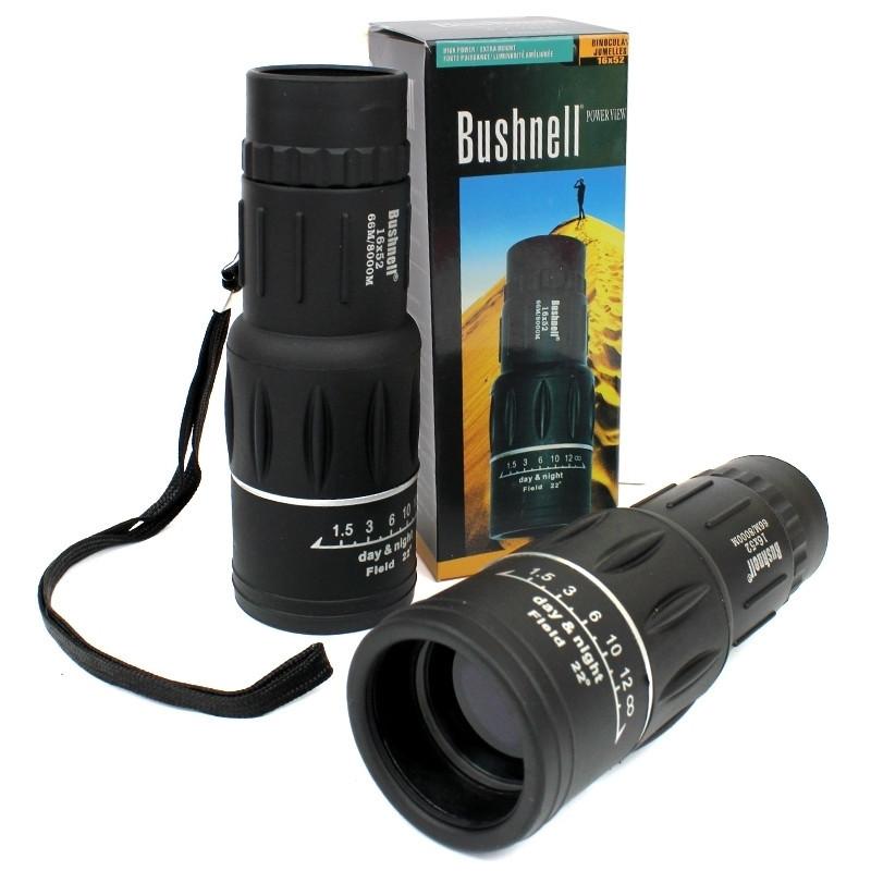 Мощный оптический монокуляр с двойной регулировкой черного цвета Бушнел 800 м | Моноколь Bushnell 16Х52 GGM