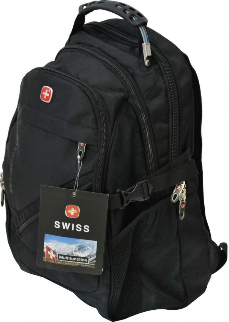 Городской рюкзак с большим количеством отделений черного цвета SWISSGEAR 8810 (Реплика)