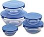 Набор кухонных пищевых стеклянных судочков с крышками разного диаметра 5 шт. Сooking bowl, фото 3