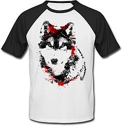 Футболка Fat Cat Wolf - Black and red (белая с чёрными рукавами)