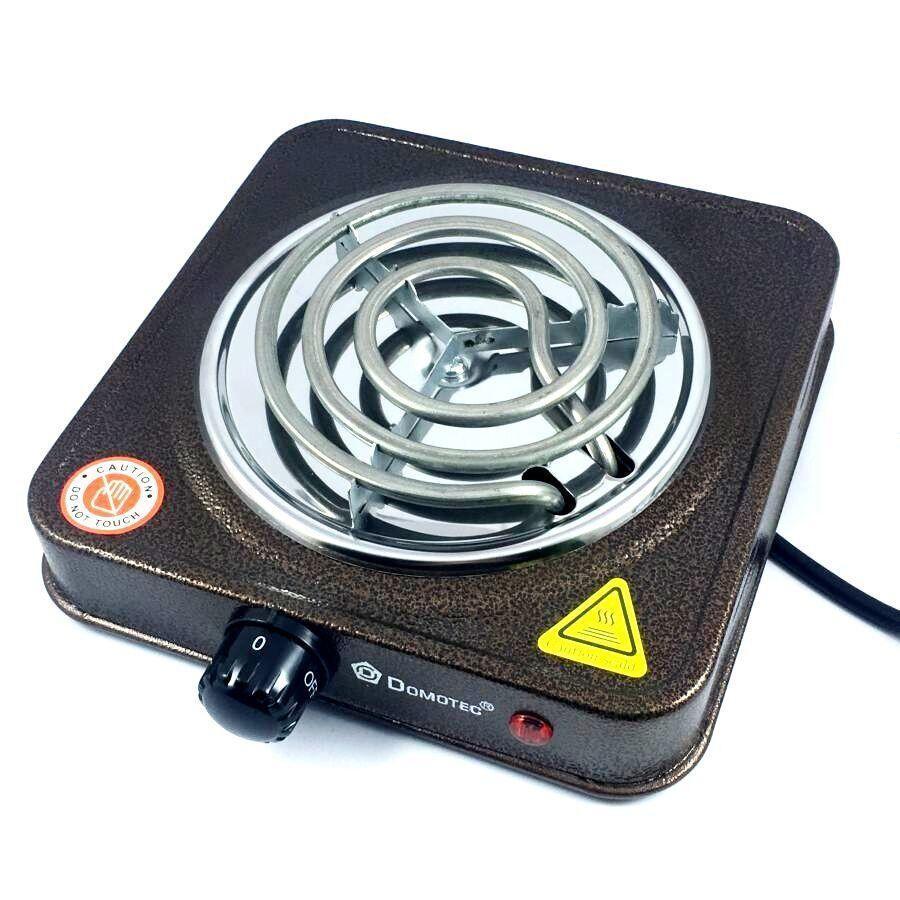 Спиральная электро плита на одну конфорку с регулятором мощности коричневого цвета  Domotec MS-5801 (1000 Вт)