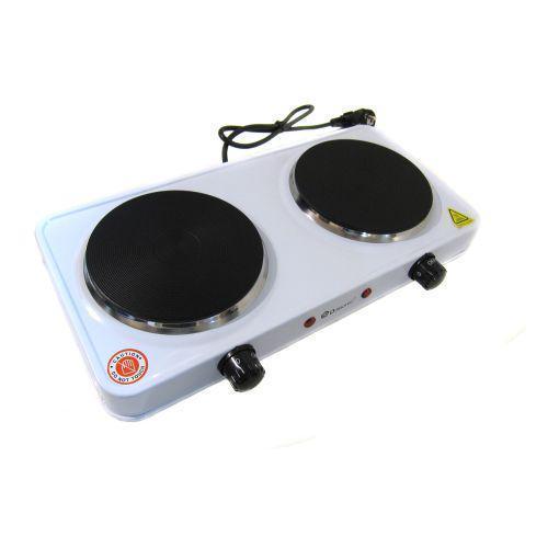 Дисковая электро плита на две конфорки с регулятором мощности белого цвета Wimpex WX-200A-HP