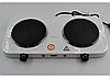 Дисковая электро плита на две конфорки с регулятором мощности белого цвета Wimpex WX-200A-HP, фото 2