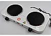 Дисковая электро плита на две конфорки с регулятором мощности белого цвета Wimpex WX-200A-HP, фото 3
