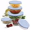 Набор кухонных пищевых стеклянных судочков с крышками разного диаметра 5 шт. Сooking bowl, фото 6