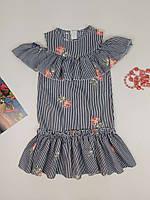 Платье летнее полосатое с цветочками для девочки 36 40 р