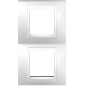 Рамка 2 пост. вертикальная Unica Plus белая MGU6.004V.18