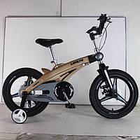 Детский легкий магниевый Велосипед с складным рулем  LANQ 1640G 16 Дюймов Черный от 5 лет легкий