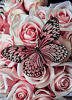 """Алмазная мозайка. Набор алмазной вышивки """"Бабочка и розы"""". Размер 30*40 см."""