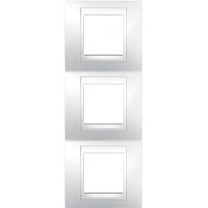Рамка 3 пост. вертикальная Unica Plus белая MGU6.006V.18