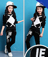 Стильный костюм для девочки Ромбы 120-160. Черный