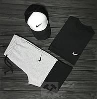 Мужской спортивный летный костюм Nike Футболка + шорты + кепка Nike (найк)