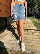 Юбка джинсовая голубая с карманами и потертостями, фото 3