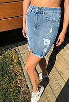 Юбка джинсовая голубая с карманами и потертостями, фото 2