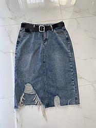 Спідниця джинсова максі з розрізом і потертостями