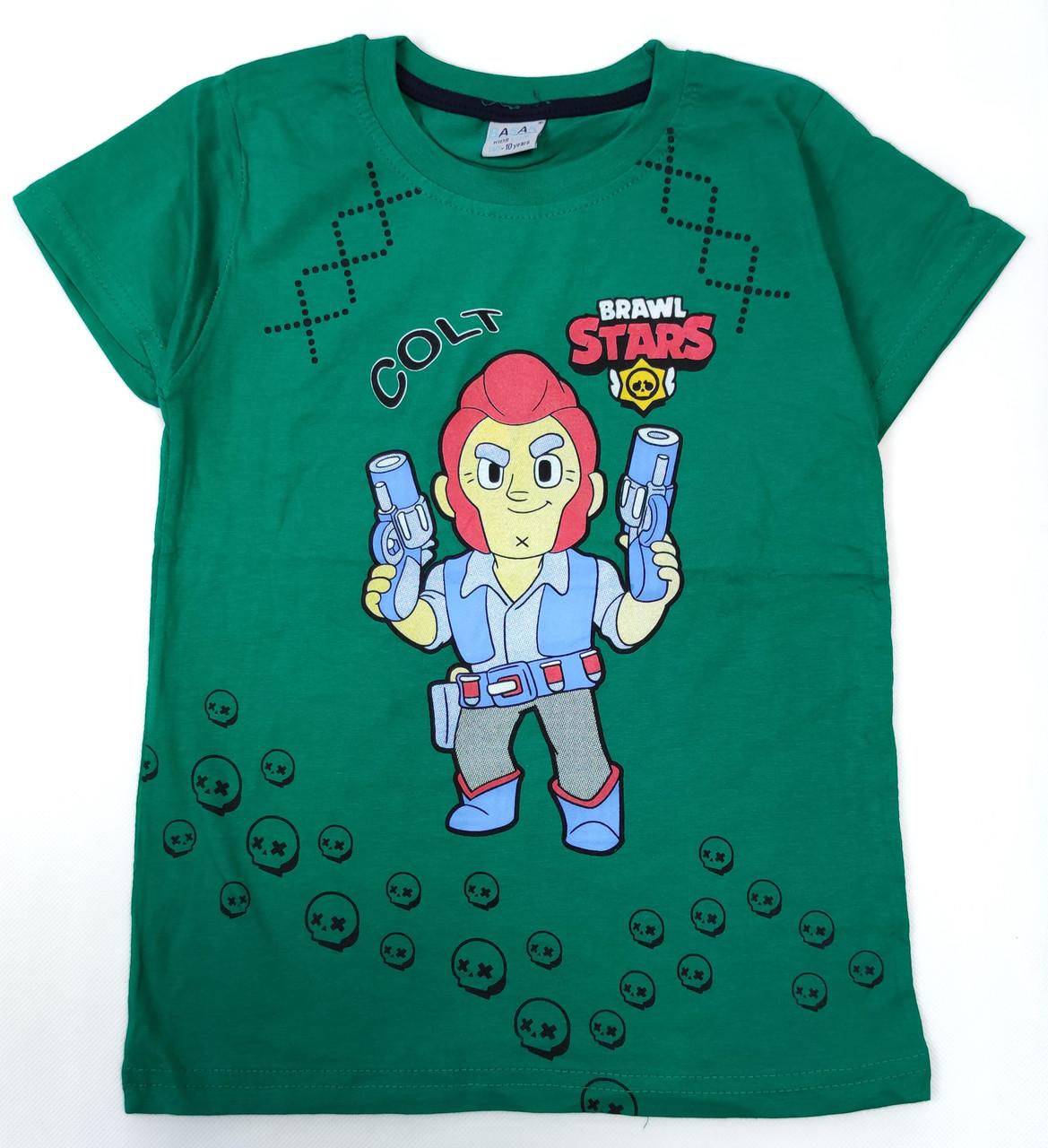 Детская футболка для мальчика бравл старс brawl stars Кольт светло зелёный 8-9 лет