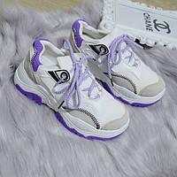 Кроссовки женские белые с фиолетовыми и серыми вставками экокожа 38