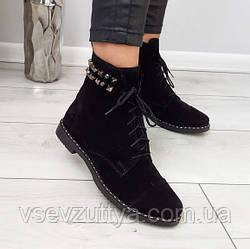 Ботинки натуральные замшевые женские черные. 39