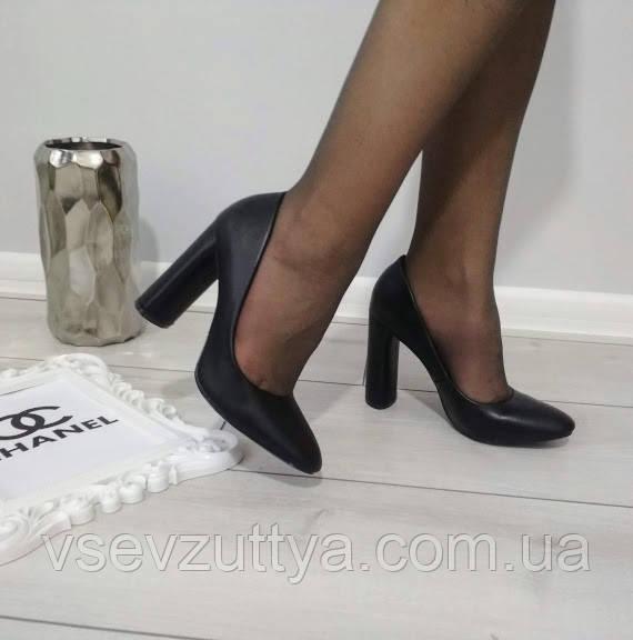 Туфли женские черные экокожа на каблуке 37р
