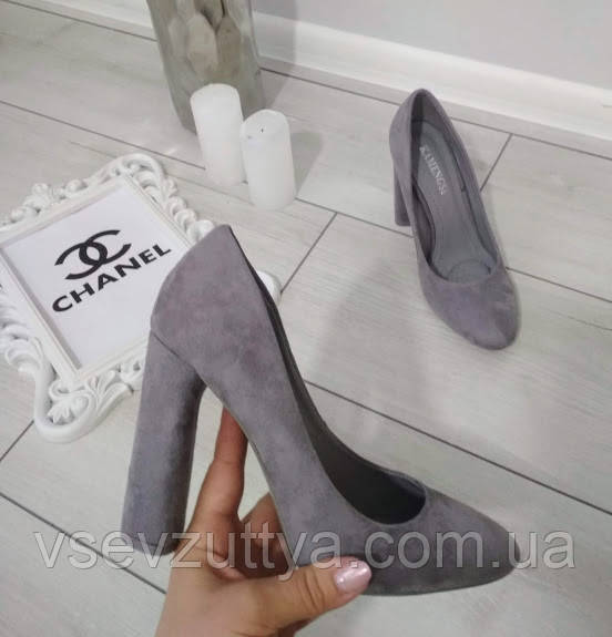 Туфли женские серые екозамша на каблуке 37р